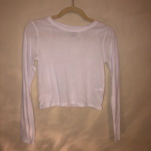 White long sleeve ribbed crop top H&M